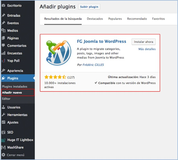 Características del plugin FG Joomla to WordPress