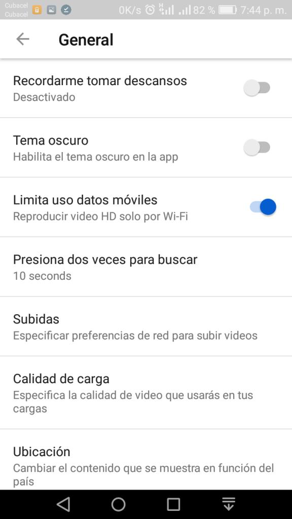Ahorrar datos en YouTube